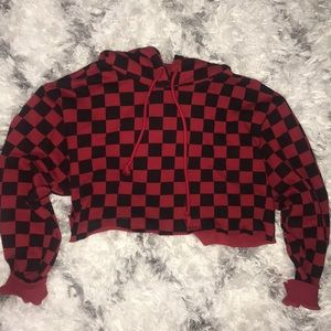 Red & Black cropped checkered hoodie ♥️♠️